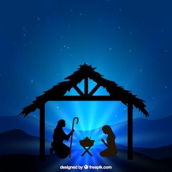 キリスト降誕シーンのシルエットイラスト