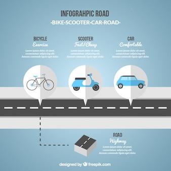 Инфографики дорога в голубых тонах