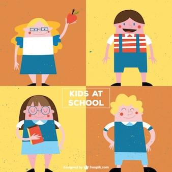 Дети в школе в винтажном стиле
