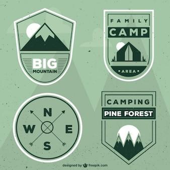 Геометрические зеленый лагеря эмблемы