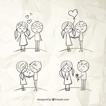 愛のカップルのスケッチ