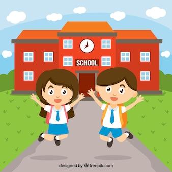 学校で幸せな子供たち