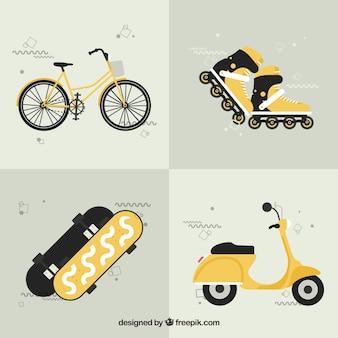 Желтые городские транспортные