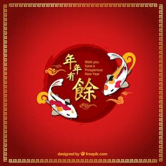レッド中国の旧正月の背景