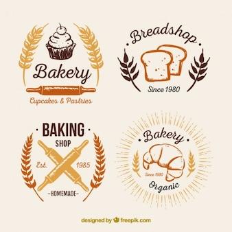 Хлебобулочные старинные логотипы пакет