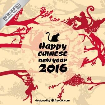 Счастливый китайский новый год с обезьянами силуэты