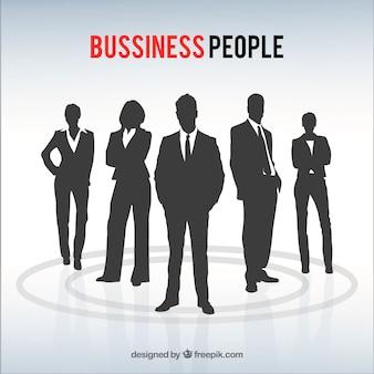 ビジネスの人々はパックをシルエット