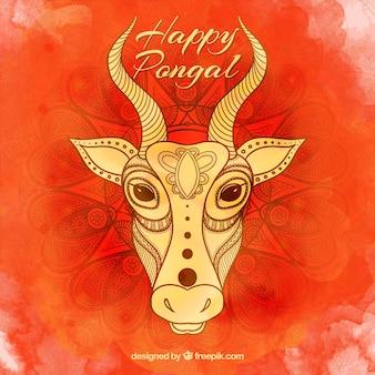 Корова на акварельной счастливый понгал фоне