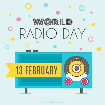幾何学的なスタイルで世界ラジオの日