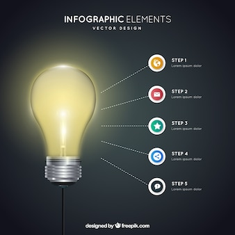 Инфографики элементы с лампочкой