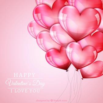 ハートの風船とバレンタインの日の背景