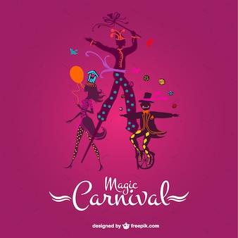 ピンクの背景にマジックカーニバル