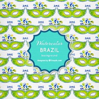 水彩アイマスクブラジルの背景