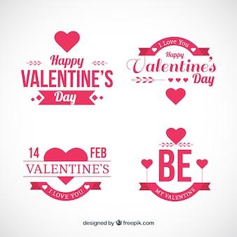 バレンタインの日のためのフラットバッジ