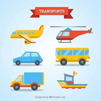 Транспорт коллекция плоский дизайн