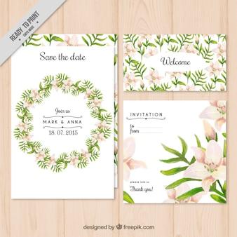 花の花輪の結婚式の招待状