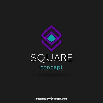 抽象的な正方形のロゴテンプレート