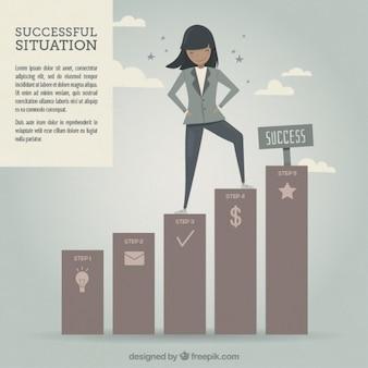 成功した女性のイラスト