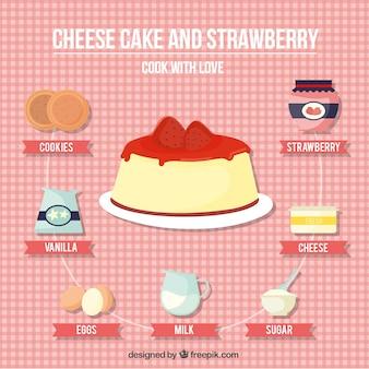 チーズケーキとイチゴのレシピ