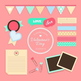 バレンタイン要素をスクラップブッキング