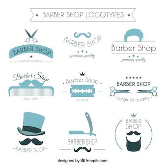 青色の理髪店のロゴ