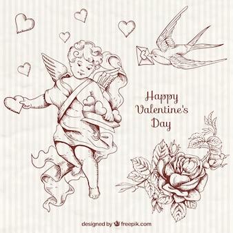 手描きのかわいいキューピッドとバレンタインの要素
