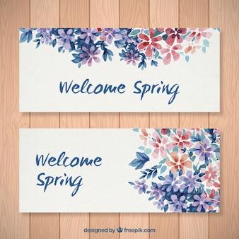 水彩花の歓迎春のバナー