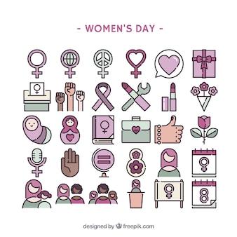 女性の日のアイコン集