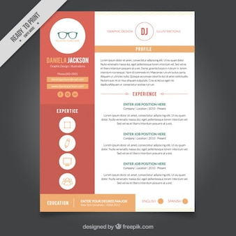 グラフィックデザインの履歴書テンプレート