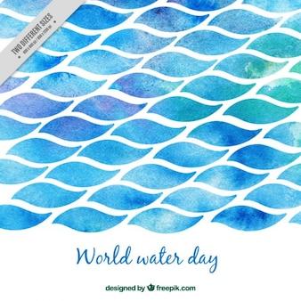 水彩画の世界水の日の海