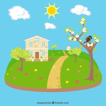 Прекрасный весенний пейзаж с домом