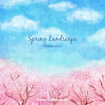 桜の木と水彩春の風景