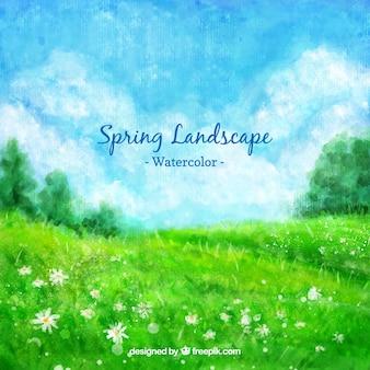 Акварель весной зеленый пейзаж