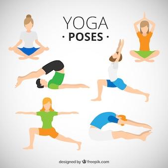 Люди делают позы йоги