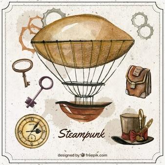 Акварели воздушный шар с элементами стимпанк