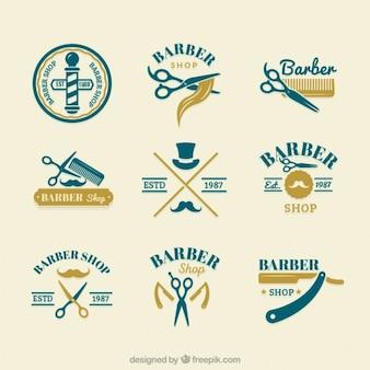 Ручной обращается логотипы мило парикмахера
