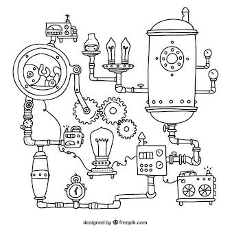 スチームパンク機械の背景