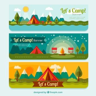 Палатки кемпинга баннеры пакет