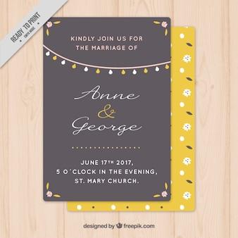 Коричневый и желтый свадебная открытка с гирляндой