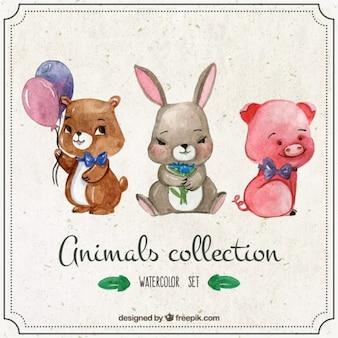 Кролик с акварельными красивыми животными