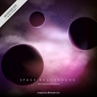 紫色の背景に惑星