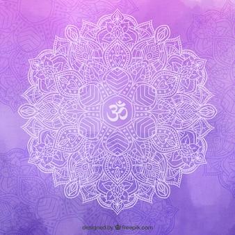 紫色の背景の上に手描き曼荼羅