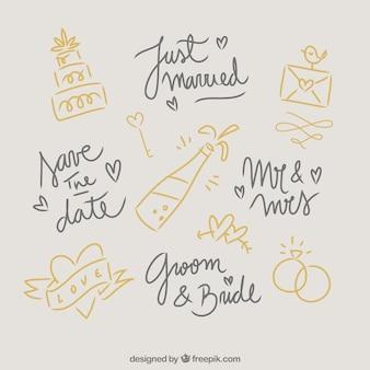 いたずら書きの結婚式の要素