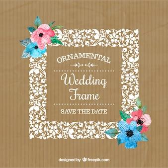 色の花と手描きの花の結婚式のフレーム