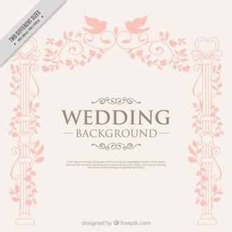 鳥の結婚式の背景に手描きエレガントな装飾