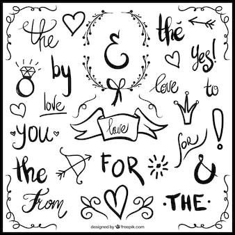 結婚式の装飾品や手で書かれた言葉