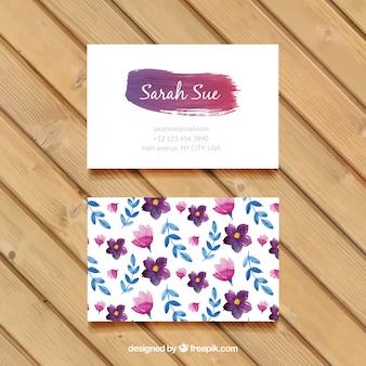 Акварельные цветы и листья визитную карточку
