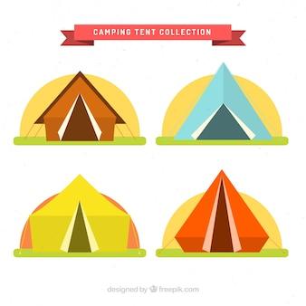 フラットなデザインに設定された色のキャンプのテント