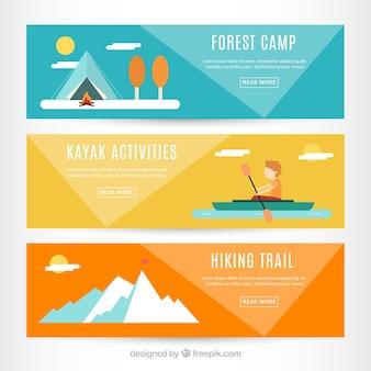 Приключенческие баннеры в плоском дизайне