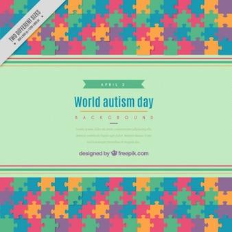 色のパズル自閉症の日の背景